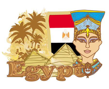 cleopatra: Egyptian queen cleopatra on the background of the flag of Egypt