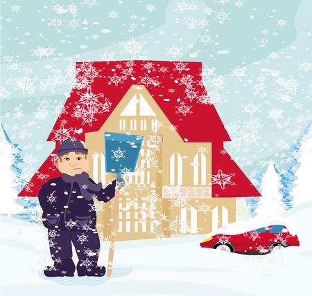 snowbank: Man shoveling snow