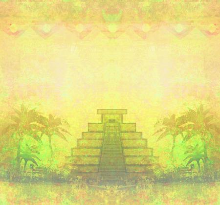 itza: Mayan Pyramid, Chichen-Itza, Mexico - grunge abstract background