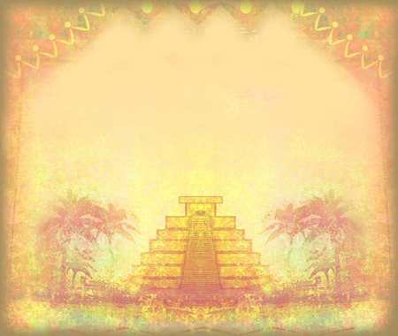 Mayan Pyramid, Chichen-Itza, Mexico - grunge abstract frame photo