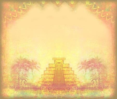 itza: Mayan Pyramid, Chichen-Itza, Mexico - grunge abstract frame
