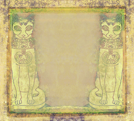 ancient civilization: Stylized Egyptian cats - grunge frame