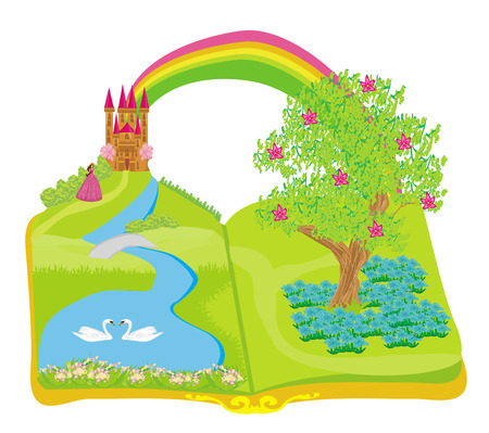 popular tales: Open book - beautiful princess in the garden