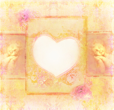 Vintage background with frame and angels photo