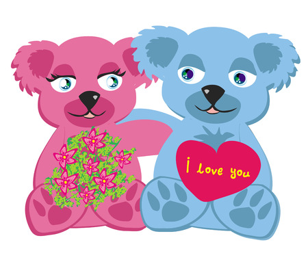 bears in love , isolated illustration Vector