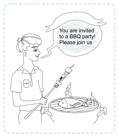 salmon steak: man cooking on his barbecue - funny doodle invitation