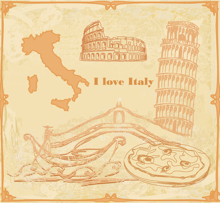 pizza place: Symbols of Italy vintage card Illustration
