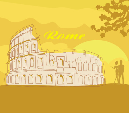 woo: Couple silhouette in front of Colosseum in Rome