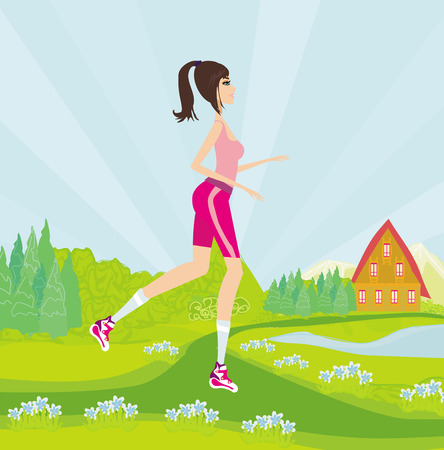 jogging in park: Young woman jogging at park Illustration
