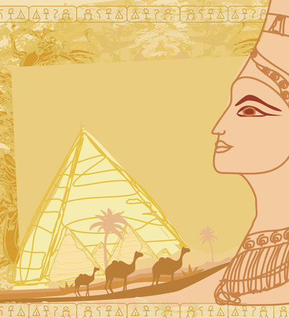 cleopatra: grunge frame with Egyptian queen