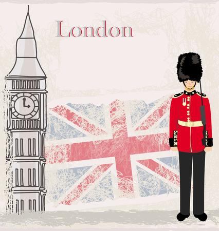bearskin hat: Grunge banner with London
