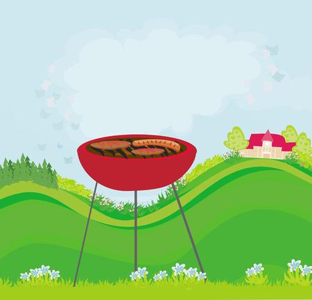salmon steak: Illustration of backyard barbecue