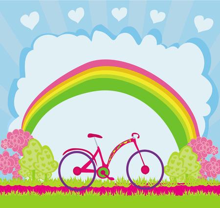 I love my bike , abstract card Vector