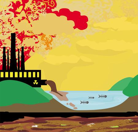 공기 공장 굴뚝 오염
