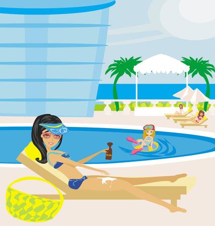 fun in the pool Vector