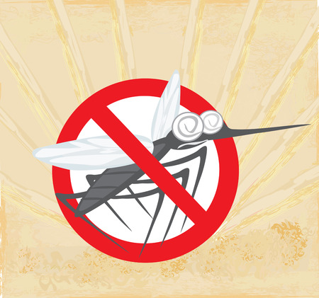 Anti mosquito sign with a funny cartoon mosquito. Vector