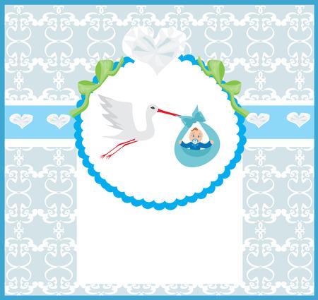 stork flying with bundle: Baby Boy Card - A stork delivering a cute baby boy. Illustration