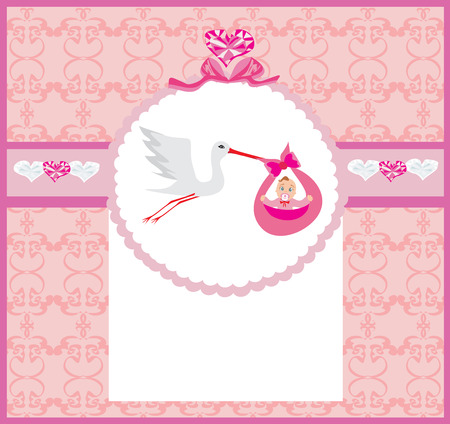 stork flying with bundle: Baby girl Card - A stork delivering a cute baby girl.