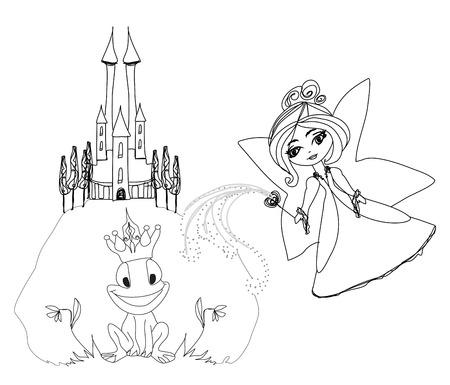 Frog Prince Cartoon Character and beautiful fairy Vector