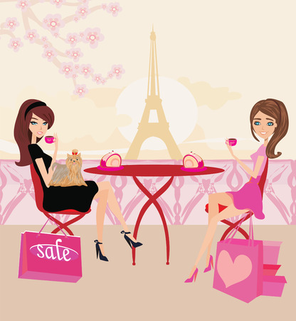 lady shopping: cafe in Paris Illustration