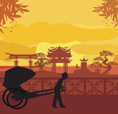 rikscha: Chinesische Rikscha Illustration