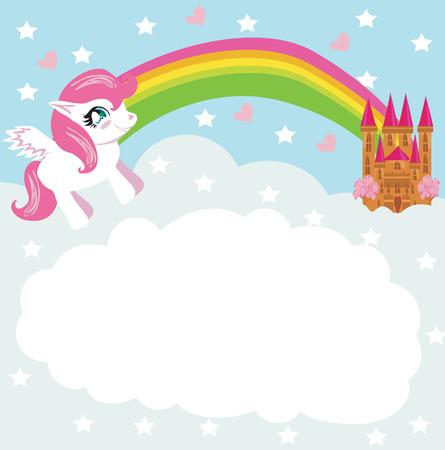 Card with a cute unicorn rainbow and fairy-tale princess castle Vector