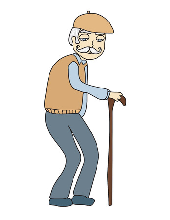 old man cartoon: The old man on a white background, vector Illustration
