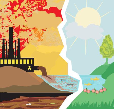 ruido: aire chimeneas de las fábricas contaminantes