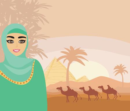 women face stare: Arabian woman in the desert