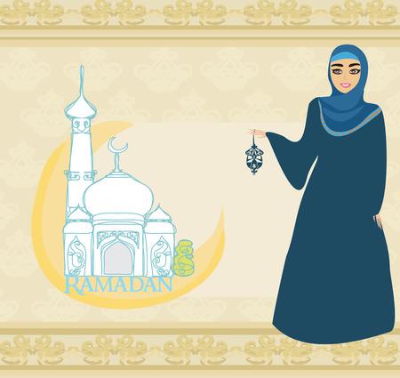 fille arabe: belles femmes musulmanes sur fond mosquée.