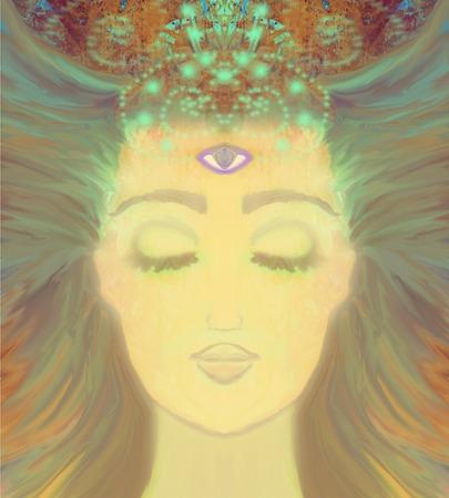 Frau mit drittes Auge, spürt psychische supernatural Standard-Bild - 37568005
