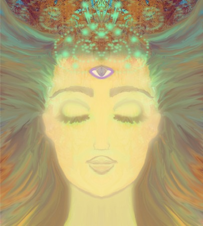 ojo: Mujer con tercer ojo, psíquico sobrenatural sentidos