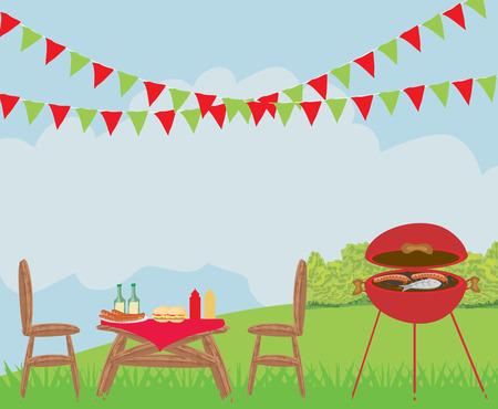 backyard: Illustration of backyard barbecue scene Illustration