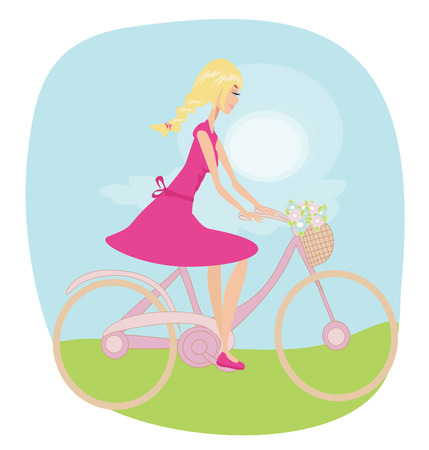 Girl is riding bike on spring field. Vector