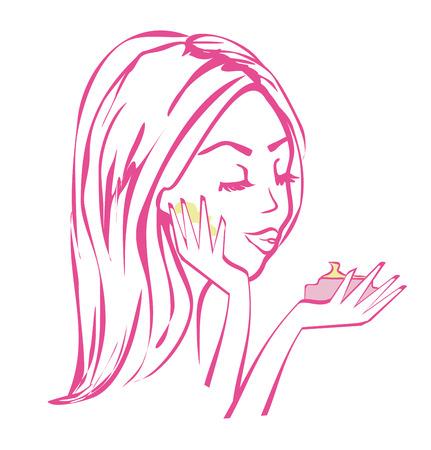 applying: beautiful girl applying cream