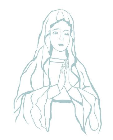 vierge marie: Bienheureuse Vierge Marie portrait Illustration