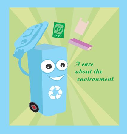 space rubbish: a vector cartoon representing a funny recycling bin