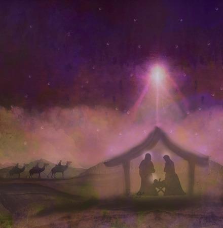 familia cristiana: nacimiento de Jesús en Belén Foto de archivo