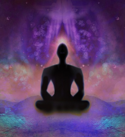 yogi aura: yoga man Stock Photo