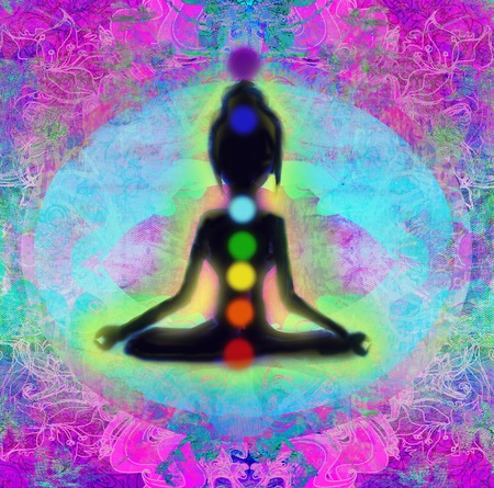 yogi aura: meditation girl Stock Photo