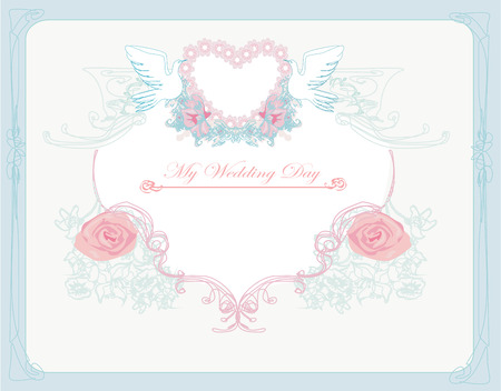 old paper background: romantic card with love birds - Wedding Invitation