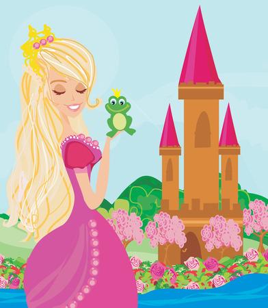 princesa: Princesa hermosa joven que sostiene una rana grande