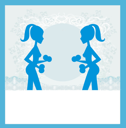 woman exercising: fit woman exercising - silhouette,abstract card