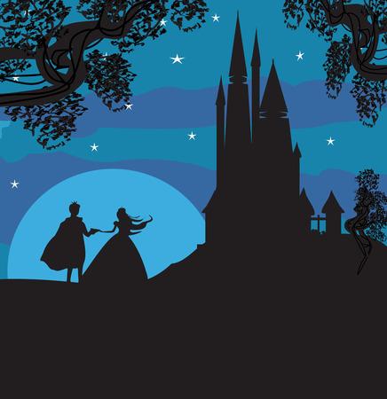 castillos de princesas: castillo y la princesa con el príncipe