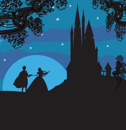 transportation silhouette: castle and princess with prince