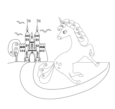princess castle: cute unicorn and fairy-tale princess castle Illustration