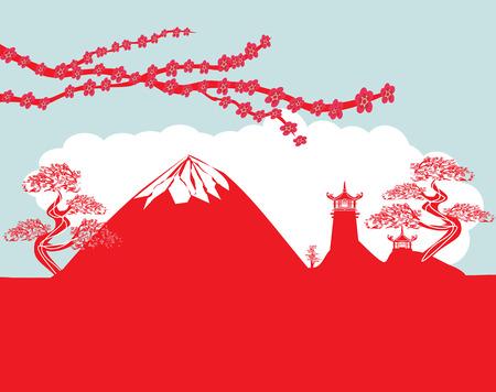 mount fuji: card with Asian buildings and Mount Fuji. Fujiyama