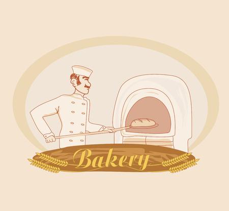 wheaten: hand drawn illustration of baker Illustration