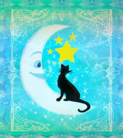 cat sitting on the moon - abstract card photo