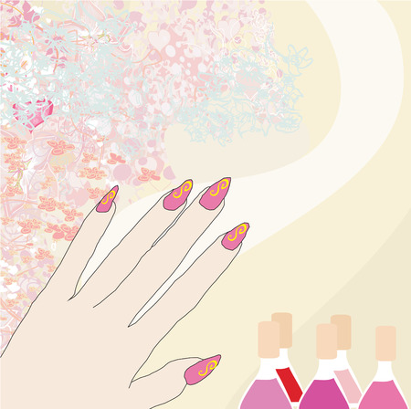 manicurista: manicure - tarjeta de resumen Vectores
